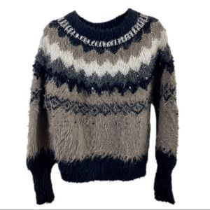 Sleeping On Snow Anthro Fair Isle Beaded Sweater S
